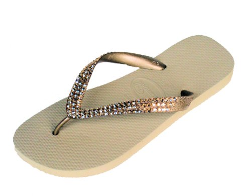 METALLIC_GOLD_Swarovski_Crystal_Havaianas_Flip_Flops_Sandals_Thongs_sizes_5_10